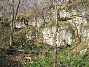 заброшенный карьер с карстовыми пещерками